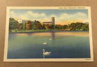 LORING PARK, MINNEAPOLIS-ST PAUL MN vintage linen postcard - swans
