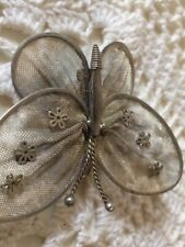 Pendant Silver White Metal Vintage Butterfly Brooch /
