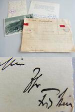 Dirigent Fritz STEIN (1879-1961): 2 AKs 1937/38, Telegramm & Dank an Erwin KROLL