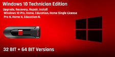 Windows 10 Bootable USB flash Drive all versions 32 - 64Bit technician edition