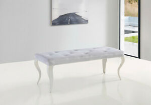 Grey velvet 150cm dining table bench with curved metal legs