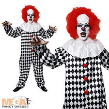 Scary Clown + Red Wig Mens Halloween Horror Fancy Dress Adult Costume Outfit New