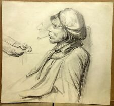 Beau Dessin vers 1840 Homme à la Pipe Portrait Old Drawing
