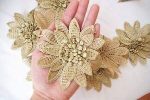 3D Flower Lace Embroidery Bridal Applique Patch Wedding Motif Trim Metallic Gold