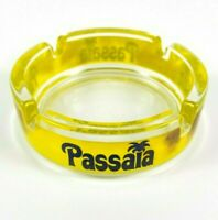 Passaia Vintage Ashtray Clear Glass with Yellow Trim 4 Inches Round with 4 Slots