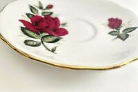 Vintage Colclough England Bone China Saucer Dish Red Roses Gold Rim Replacement
