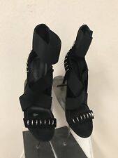 Kendall + Kylie Black Suede Strappy Heels Silver Hardware