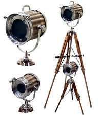 SET OF TWO NAUTICAL BROWN WOOD SEARCH LIGHT FLOOR LAMP WITH TRIPOD STAND