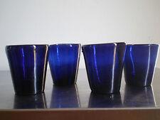 4 VERRE ANCIEN SOUFFLE XVIII°S XIX°s BLEU DECO VEILLEUSE GLASS ANTIC