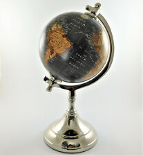 """Small Desktop World Globe in Antique Black 5"""" with Metal Base Home Office Decor"""