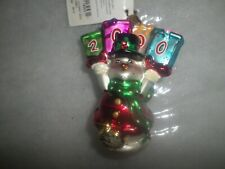 "Radko Christmas ""Holiday Horray 2000"" Snowman Gem Glass Ornament Nwt/Nib"