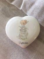 Adorable Precious Moments September Heart Shaped Trinket Box 1986