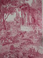 "ZOFFANY CURTAIN FABRIC DESIGN ""Le Temple De Jupiter"" 3.6 METRES RED 100% LINEN"
