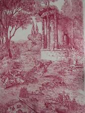 "ZOFFANY CURTAIN FABRIC DESIGN ""Le Temple De Jupiter"" 3.85 METRES RED 100% LINEN"