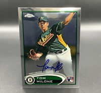 Tom Milone RC Auto 2012 Topps Chrome #169 Autograph Oakland Athletics MLB