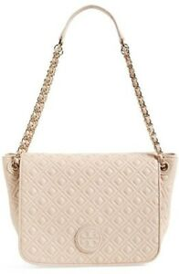 NWT Auth Tory Burch Marion Quilted Small Flap Shoulder Bag Light Oak $495