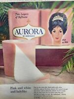Vintage 1965 Pink & White Toilet Paper Print Ad Aurora Northern American Can Co.