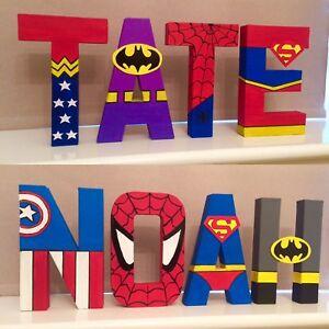 Childrens Superhero letters Boys Batman spiderman Marvel Avengers End Game Dc