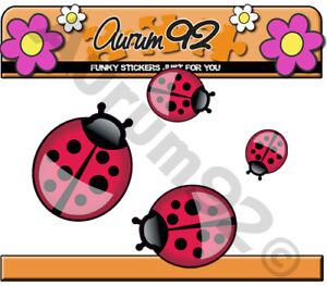 x4 Ladybird Ladybug Stickers car stickers, laptop, phone, toys etc