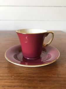 Vintage Crown Devon Fieldings Burgundy Gold Lustre Demitasse Cup And Saucer