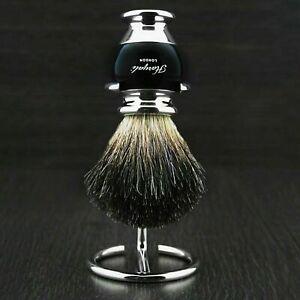 Men`s Shaving Brush 100% Black Badger Hair Brush With Stand Perfect Shaving Kit