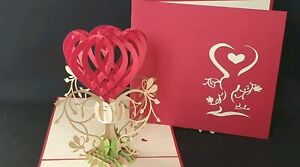 3D Pop up RED HEART with Love Card.(Engagement, Anniversary, Wedding, Mother's d