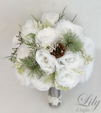 17 Piece Package Silk Flower Wedding Bridal Bouquet WINTER PINE CONE WHITE GREEN