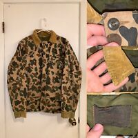Vintage Camo Barn Jacket Mens Size XL Corduroy Collar Button Up Green Collared