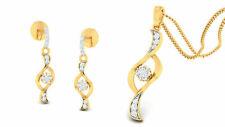 0,53 Carats Ronde Brillante Couper Diamants Pendentif Boucles Set En 585 14K Or