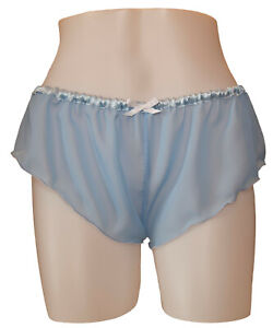 Pastel Blue Chiffon Sheer Micro French Knickers sexy lingerie panties lingerie