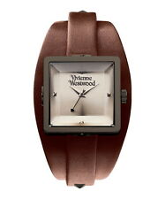 Vivienne Westwood Cube brown leather cuff style watch X
