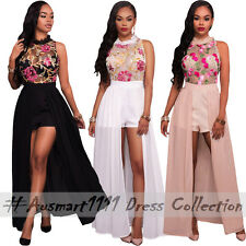High Neck Sleeveless Mini Romper Front Split Sheer Mesh Maxi Chiffon Skirt Dress
