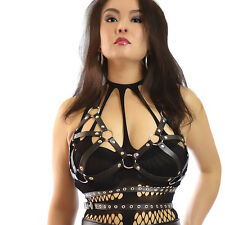BLACK FAUX LEATHER BRA ONE PLUS SIZE SEXY BONDAGE FETISH S M shibari