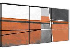 3 Pezzi Arancione Bruciato Grigio DIPINTO CAMERA DA LETTO ARTE in Tela-ASTRATTO 3390 - 126 cm