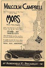 1920 Vintage Malcolm Campbell Mors Sleeve Valve Engine Car Photo Print Ad