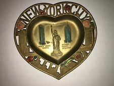 Vintage New York City Ashtray Heart Shaped Metal Ashtray WTC, Statue of Liberty