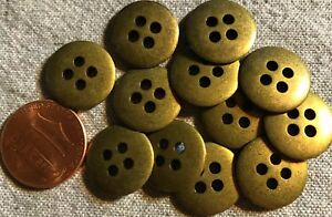 """12 Antiqued Brass Tone Metal Sew-through 4-hole Buttons Almost 5/8"""" 15mm # 4769"""