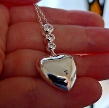 Silver Puffed Heart Pendant Necklace with Dazzling Crystal Zircon CZ Silver 925