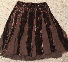 Women's Elie Tahari Brown Velvet Silk Pleated Dress Skirt Sz 8