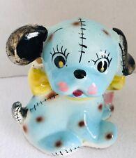 Vintage Baby Nursery Puppy Toy Dog  Plant Holder Planter Blue JAPAN