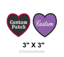 "Custom Embroidered Name Tag Title Patch Heart Love Badge 3"" X 3"""