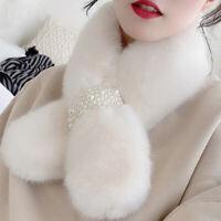 Winter Warm Scarf Pearl Plush Bib Scarfs Thicken Imitation Rabbit Fur Scarf