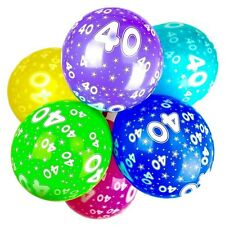 40th Birthday Balloons With Printed Numbers Party Latex Quality - Pack of 10