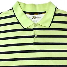 Club Room Men's Striped Polo Golf Shirt Lime Light Green Blue Short Sleeve Sz L