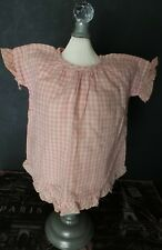 Charming! Antique Pink Plaid Dress for Composition Baby or Bisque Baby Doll