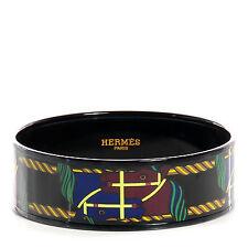 Hermes Enamel Printed PVD Quadridge Wide Bracelet Cuff Size 70 - Color 14 Africa