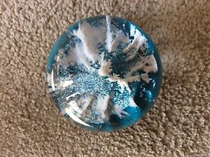 3 inch diameter - 24 ounce glass paperweight - blue with snow covered peak