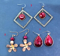 Natural Ruby Handmade Drop Designer Earring 925 Sterling Silver Jewelry ME3262