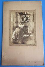 *Original* GRANDMOTHER ENGLISH Sitting in ROCKING CHAIR 1890's LARGE Photograph