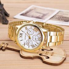 Hot Womens Watch Ladies Roman Numerals Quartz Stainless Steel Wrist Watch